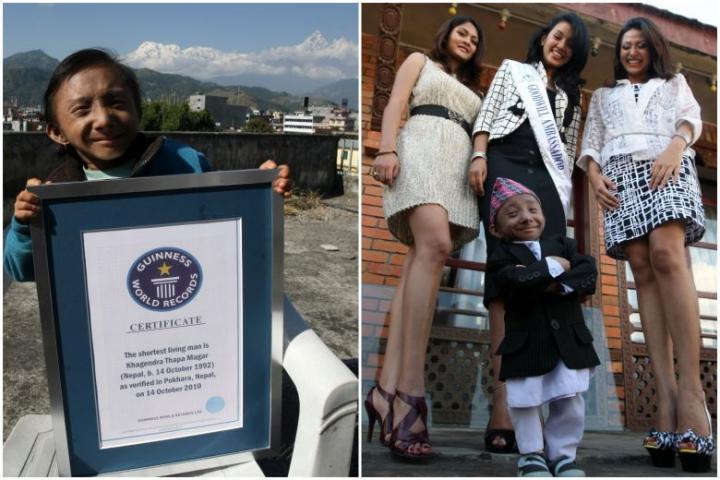 தனது சொந்த ஊரான பொக்காராவில் 2010ஆம் ஆண்டு அக்டோபர் மாதம் கின்னஸ் சாதனை சான்றிதழுடன் திரு ககேந்திரா தாபா மகர் (இடது படம்). 2010ஆம் ஆண்டின் நேப்பாள உலக அழகிகள் சடிச்சா ஷ்ரெஸ்தா (நடுவில்),  சஹானா பஜ்ராசார்யா (வலது), சம்யுக்தா டிமில்சினா ஆகியோருடன் காத்மாண்டுவில் ககேந்திரா எடுத்துக்கொண்ட புகைப்படம். படங்கள்: ஏஎஃப்பி