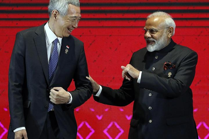 Prime Minister Lee Hsien Loong with Indian Prime Minister Narendra Modi at the 16th Asean-India Summit, held as part of the 35th Asean Summit in Nonthaburi province, Thailand. PHOTO: EPA